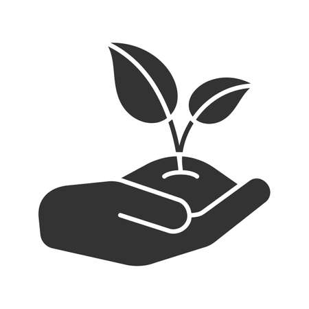 Open hand with sprout glyph icon. Environment protection. Agriculture. Silhouette symbol. Negative space. Vector isolated illustration