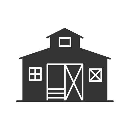 Barn glyph icon. Ranch. Agriculture. Silhouette symbol. Negative space. Vector isolated illustration 일러스트