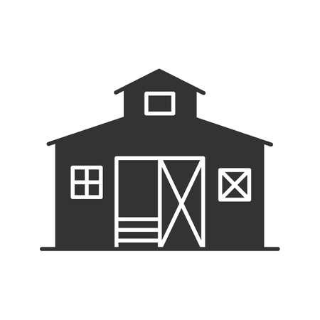 Schuur glyph pictogram. Boerderij. Landbouw. Silhouet symbool. Negatieve ruimte. Vector geïsoleerde illustratie