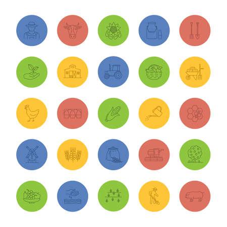 Ensemble d'icônes linéaires d'agriculture. Agriculture. Outil agricole. Symboles de contour de ligne mince sur fond de couleur. Illustration vectorielle