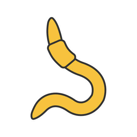 Worm in color icon. Fishing live bait. Isolated vector illustration Stock Illustratie