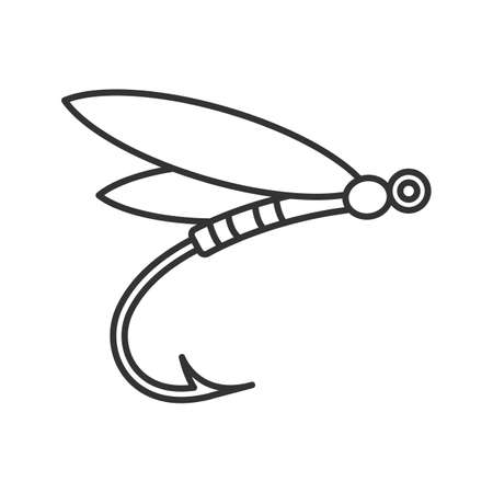 Fly fishing linear icon. Thin line illustration. Insect bait. Dragonfly lure. Contour symbol. Vector isolated outline drawing