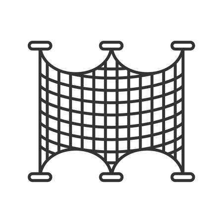 Fishing nets linear icon. Thin line illustration. Angling equipment. Contour symbol. Vector isolated outline drawing Stock Illustratie