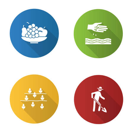 Agriculture flat design long shadow glyph icons set. Farming. Bowl with fruits, sowing, farmer, field. Vector silhouette illustration