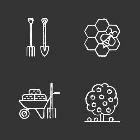 Agriculture chalk icons set. Shovel and pitchfork, wheelbarrow with hays, beekeeping, fruit tree. Isolated vector chalkboard illustration