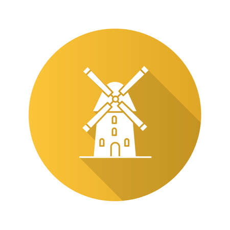 Windmill flat design long shadow glyph icon. Agriculture. Vector silhouette illustration.