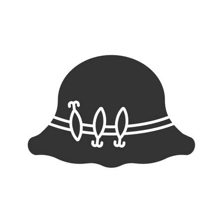 Fisherman hat with hooks glyph icon. Fishing equipment. Silhouette symbol. Negative space. Vector isolated illustration 일러스트