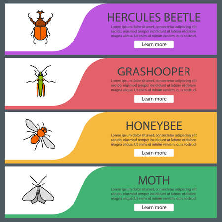 Insects web banner templates set. Hercules beetle, grasshopper, honeybee, moth. Website color menu items. Vector headers design concepts