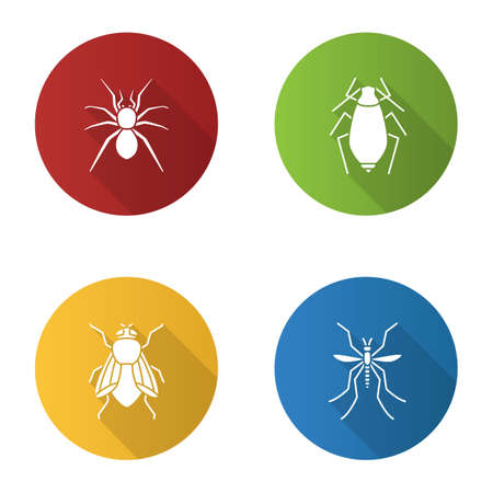 Insects flat design long shadow glyph icons set. Spider, aphid, housefly, mosquito. Vector silhouette illustration.