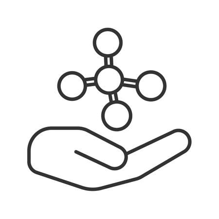 Open hand with molecule linear icon. Chemical contamination prevention. Thin line illustration. Chemical engineering. Contour symbol. Vector isolated outline drawing Illustration