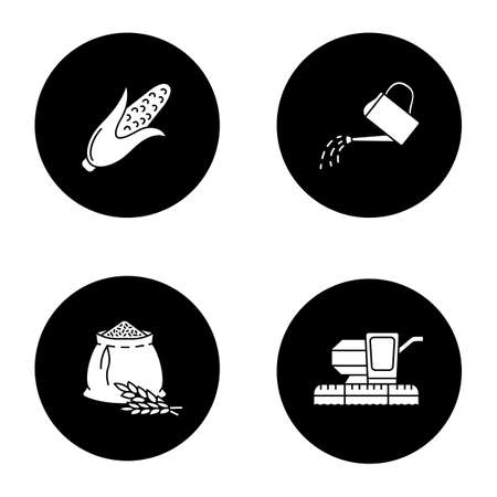 Agriculture glyph icons set. Farming. Corn, watering can, flour bag, combine harvester. Vector white silhouettes illustrations in black circles