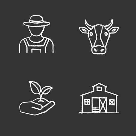 Conjunto de iconos de tiza de agricultura. Agricultor, cabeza de vaca, brote en mano, edificio de granero. Ilustración de pizarra de vector aislado Ilustración de vector