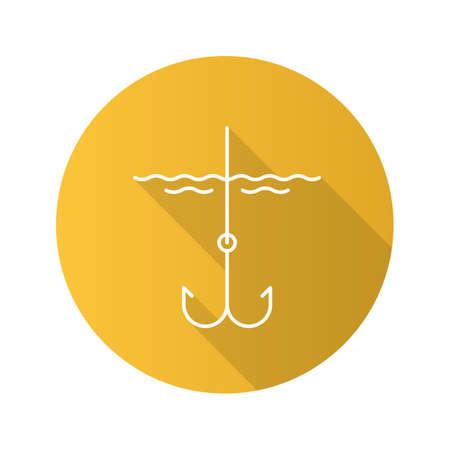 Hook in water flat design long shadow glyph icon