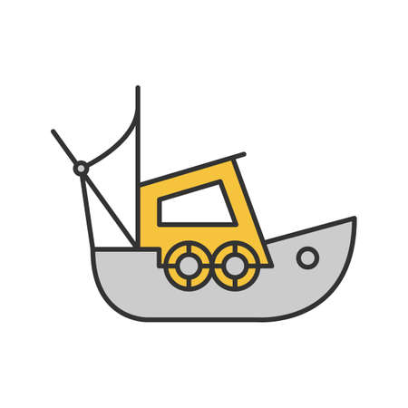 Fisher boat colored icon Stock Illustratie