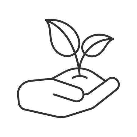 Open hand with sprout linear icon. Environment protection. Thin line illustration. Agriculture. Contour symbol. Vector isolated outline drawing