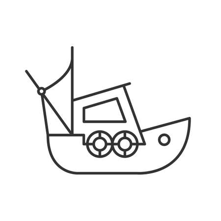 Fisher boat linear icon. Thin line illustration. Coble. Yacht. Contour symbol. Vector isolated outline drawing Stock Illustratie