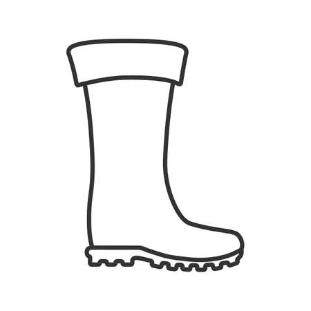 Rubber boot linear icon. Thin line illustration. Waterproof shoe. Fishing equipment. Contour symbol. Vector isolated outline drawing Stock Illustratie