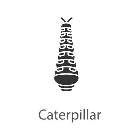 Caterpillar glyph icon. Butterfly larval stage. Silhouette symbol. Negative space. Vector isolated illustration
