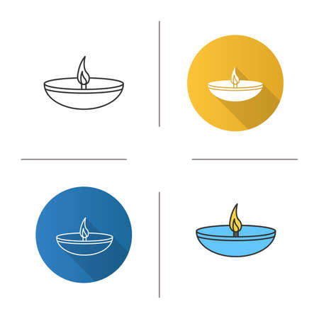 Islamic oil lamp icon. Flat design, linear and color styles. Diya. Islamic culture. Burning bowl oil lamp. Isolated vector illustrations