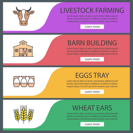 Agriculture web banner templates set. Cow head, barn building, eggs tray, wheat ears. Website color menu items. Vector headers design concepts