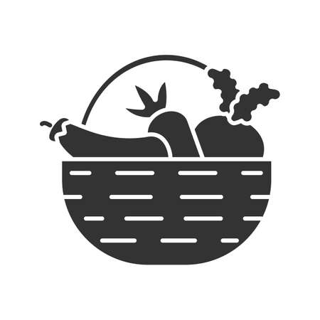 Basket with vegetables glyph icon. Autumn harvest. Carrot, eggplant, beetroot. Silhouette symbol. Çizim