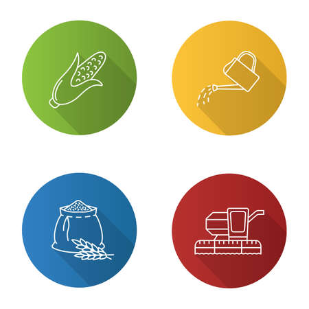 Agriculture flat linear long shadow icons set. Farming. Corn, watering can, flour bag, combine harvester. Vector outline illustration.