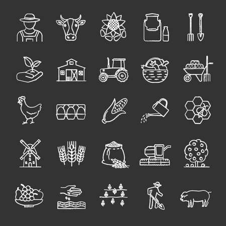 Agriculture chalk icons set. Farming, agricultural implement. Isolated vector chalkboard illustrations.