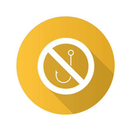 Forbidden sign with hook flat design long shadow glyph icon. No fishing prohibition. Vector silhouette illustration.