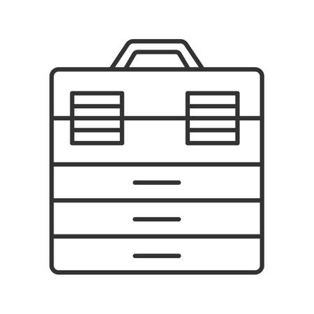 Fishing tackle box linear icon. Thin line illustration. Toolbox contour symbol. Vector isolated outline drawing.