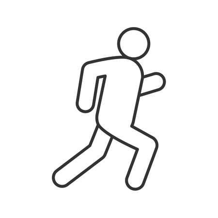 Running man linear icon. Escape thin line drawing. Jogging contour symbol. Isolated vector illustration. Vettoriali