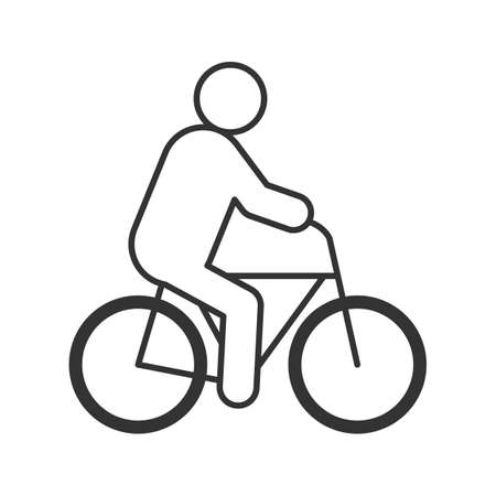Man riding bike linear icon. Cyclist thin line drawing. Eco-transport contour symbol. Isolated vector illustration. Illustration