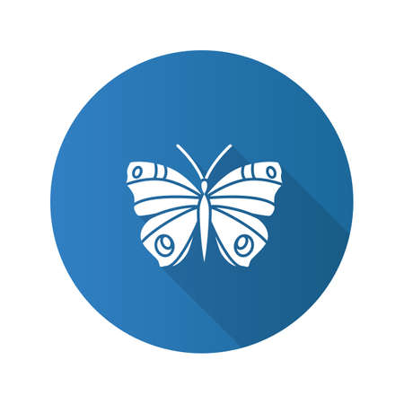 Butterfly flat design long shadow glyph icon. Insect. Moth vector silhouette illustration.
