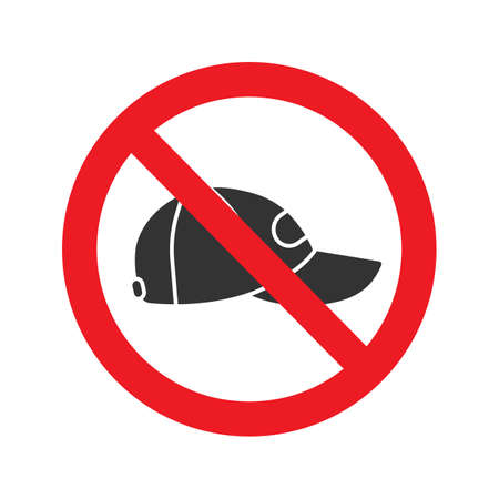 Forbidden sign with cap glyph icon, no headwear prohibition illustration.
