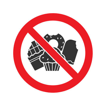 Forbidden sign with confectionery glyph icon. Stop silhouette symbol. No sweets prohibition. Negative space. Vector isolated illustration