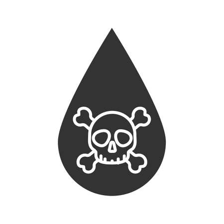 Liquid drop with skull and crossbones glyph silhouette icon illustration.