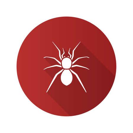 Spider flat design long shadow glyph icons set. Illustration