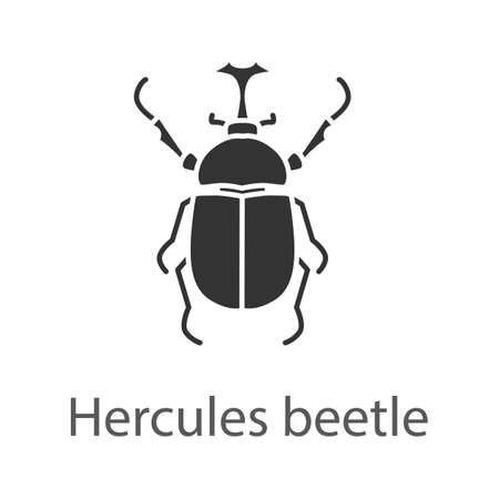 Hercules beetle glyph icon. Illustration
