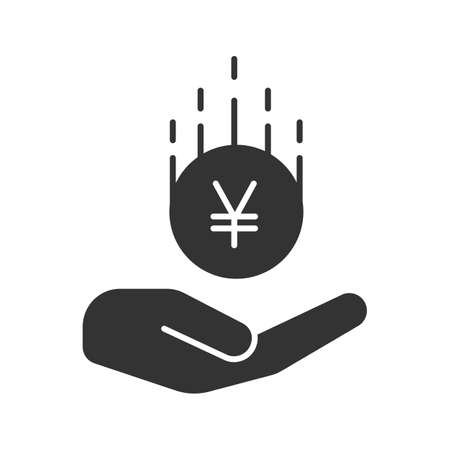 Open hand with yen coin glyph icon. Çizim