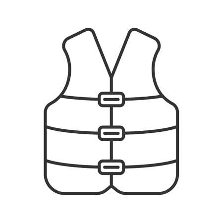Life jacket linear icon. Boating life vest. Contour symbol. Vector isolated outline drawing Vettoriali
