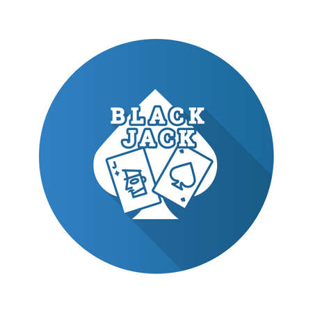 Blackjack white cards and spade shape o a blue circle