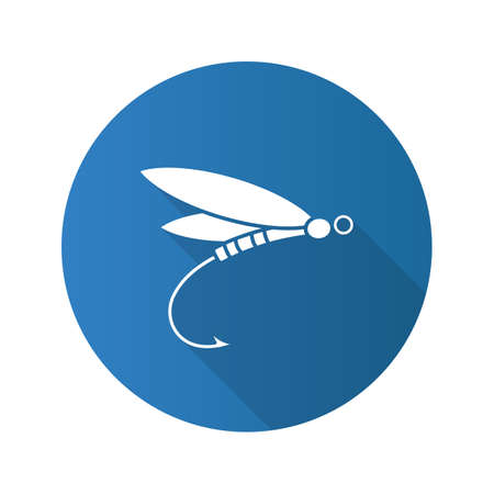 Fly fishing flat design long shadow glyph icon. Insect bait. Dragonfly lure. Vector silhouette illustration