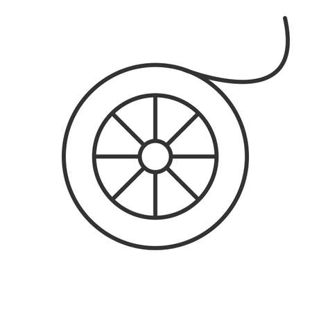 Fishing line spool linear icon. Thin line illustration. Angling equipment. Contour symbol. Vector isolated outline drawing