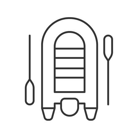 Inflatable rubber motor boat linear icon. Thin line illustration. Dinghy with paddles. Contour symbol. Vector isolated outline drawing Stock Illustratie