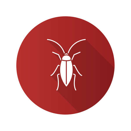 White cockroach on a red circle icon with a long shadow
