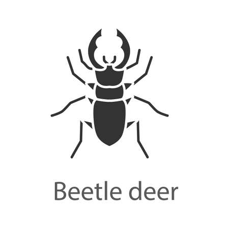 Stag beetle glyph icon. Bug. Lucanus cervus. Silhouette symbol. Negative space. Vector isolated illustration