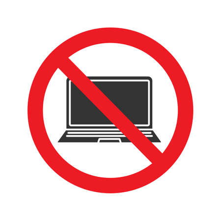 Forbidden sign with laptop glyph icon. No computer using prohibition. Stop silhouette symbol.  Vector isolated illustration Vectores