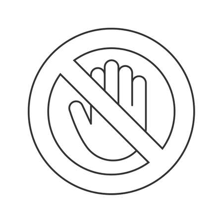 Forbidden sign with stop hand linear icon. No entry prohibition. Do not touch. Thin line illustration. Vector isolated outline drawing. Contour symbol