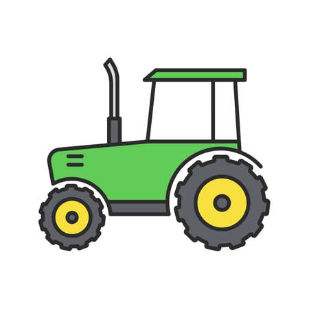 Tractor color icon. Agricultural implement. Isolated vector illustration