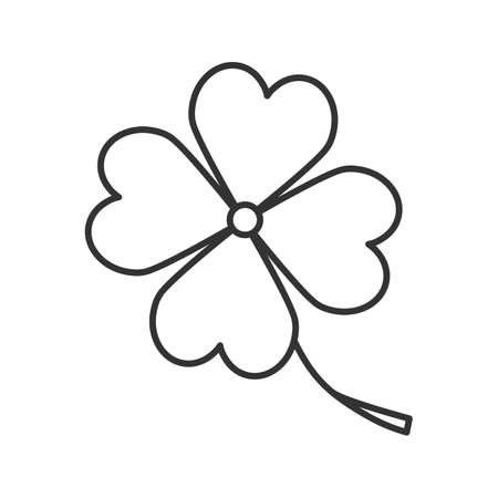 Four leaf clover linear icon. Symbol of success and good luck. Thin line illustration. Contour symbol. Vector isolated outline drawing