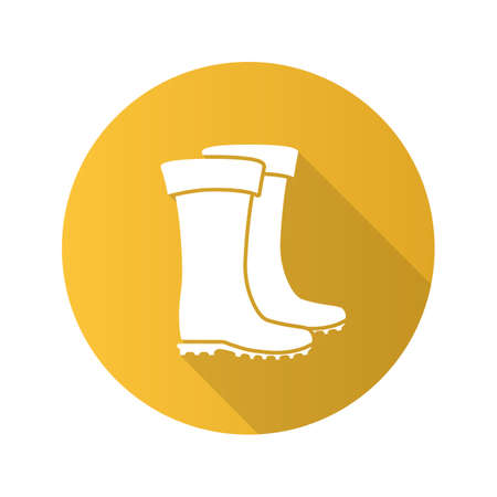 Rubber boot flat design long shadow glyph icon. Waterproof shoes. Fishing equipment. Vector silhouette illustration Vetores
